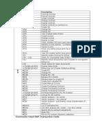 SAP Transaction Code List