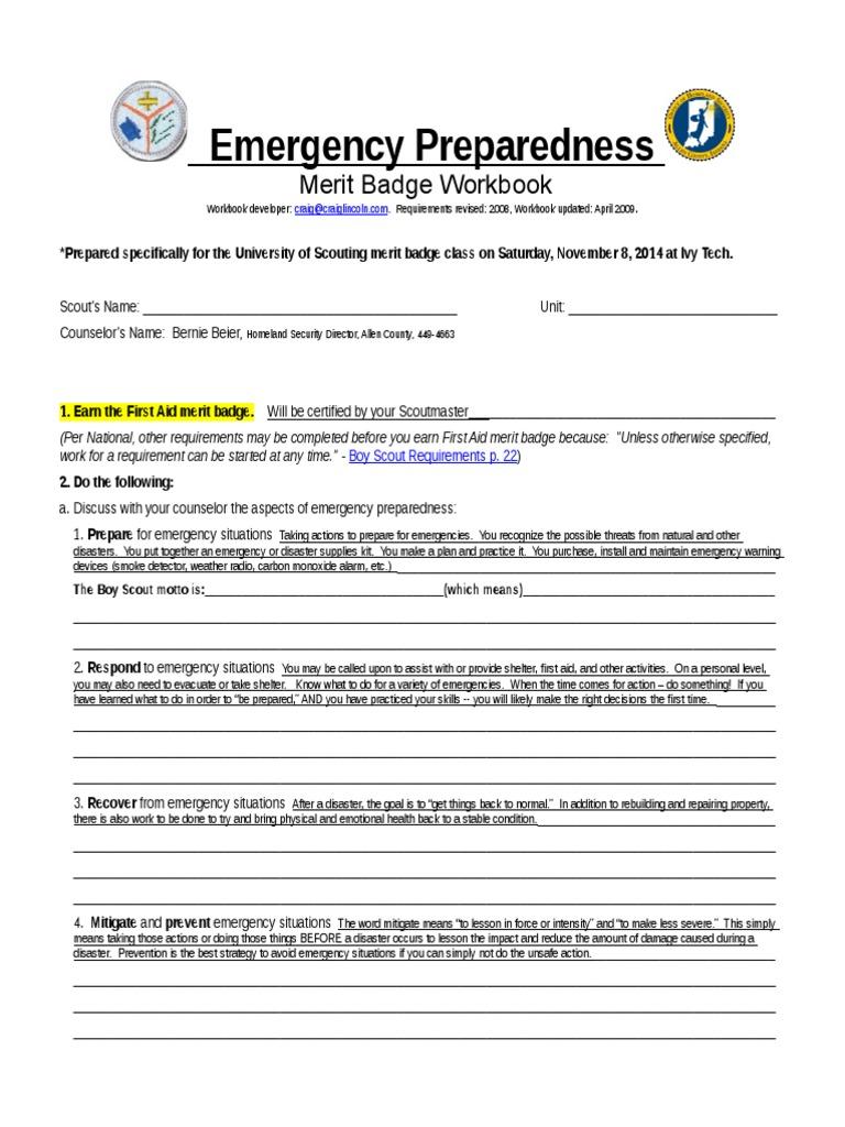 2014 Emergency-Preparedness Merit Badge Workbook (1) | Emergency ...
