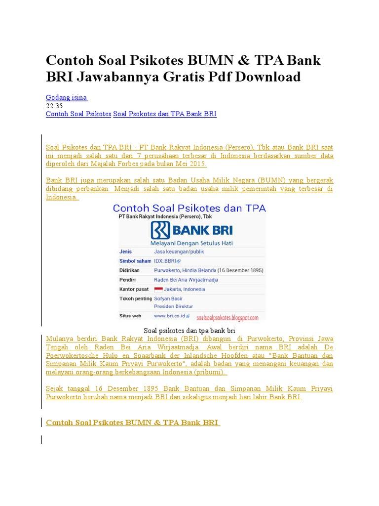 Contoh soal psikotes pdf free