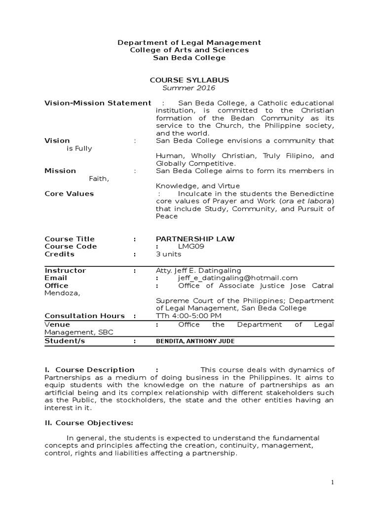 Partnership Law Syllabus Partnership Legal Personality - Partnership legal documents