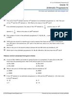 Grade 10 Arithmetic Progressions Ae 1