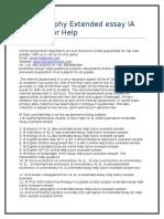 Ib Geography Extended Essay IA HL SL Tutor Help