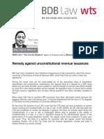 397. Remedy Against Unconstitutional Revenue Issuances ICN 6.13.13