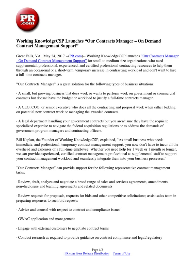 """Working Knowledgecsp Launches """"Our Contracts Manager – On"""
