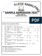 Sample Admission Test Class 9th 2017