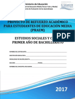 Primera Prueba de Avance de Estudios Sociales y Civica Primer Año de Bachillerato 2017 2