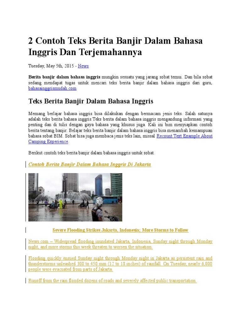 2 Contoh Teks Berita Banjir Dalam Bahasa Inggris Dan Terjemahannya