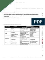 Advantages & Disadvantages of Level Measurement Systems Instrumentation Tools