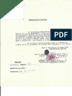 La Déclaration d'accord pour le placement de Charles Geradin sous la tutelle de l'Etat.