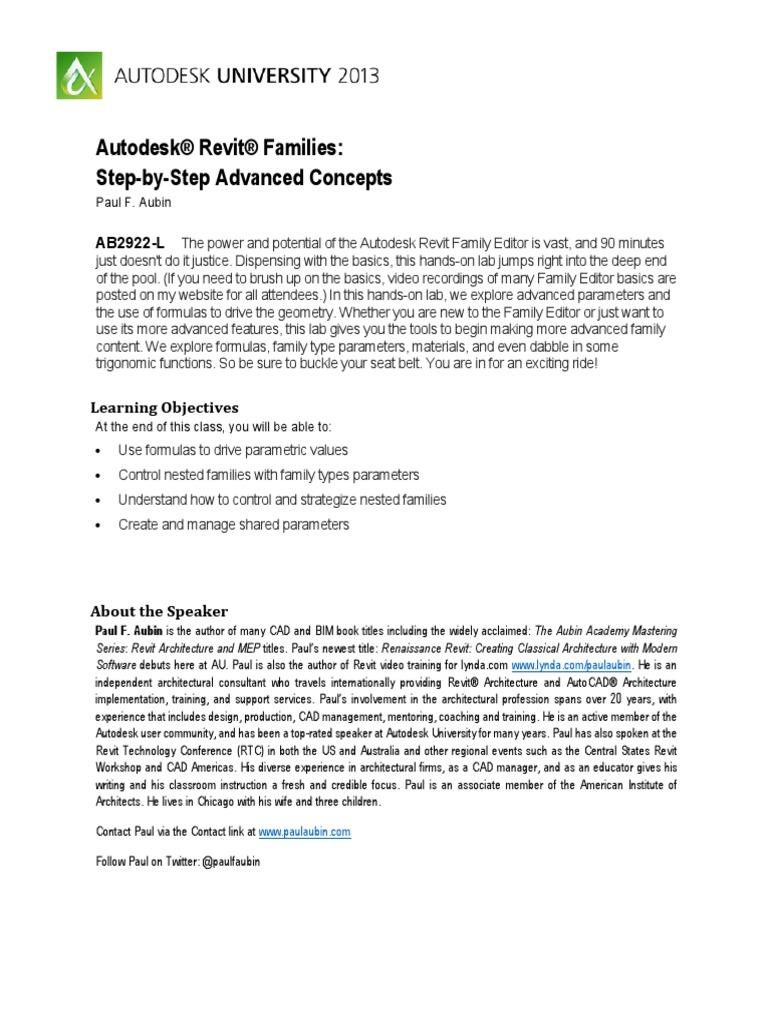 AB2922-L_Advanced Families pdf | Autodesk Revit | Parameter