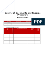 Control of Documents and Records Template