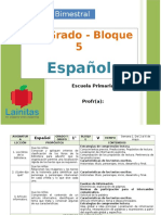Plan 1er Grado - Bloque 5 Español