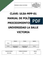 Manual de Políticas y Procedimientos Universidd de La Salle Victoria