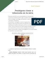 El Pentagono Tiene en La Mira a Venezuela