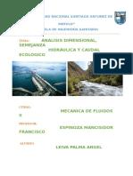 ANALISIS DIMENSIONAL, SEMEJANZA  HIDRÁULICA Y CAUDAL ECOLÓGICO