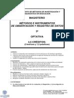 Métodos e Instrumentos de Observación y Registro de Datos