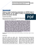 Study on laser hardening parameters of ASTM Grade 3 pure titanium on an angle of entry of hardened bead profile and power density