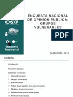 Encuesta Nacional de Opinión Pública-Grupos Vulnerables