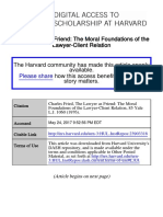 FRIED, Charles. the Lawyer as a Friend-The Moral Foundations of the Lawyer-client Relation
