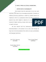 Certificate of Originality