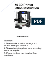 A6 3D Printer Installation Instructions