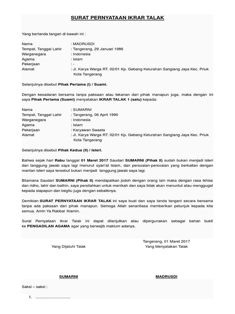 Contoh Surat Talak Cerai Tulis Tangan Nusagates