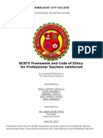 Ncbts in Relation to Code of Ethics of Professional Teachers
