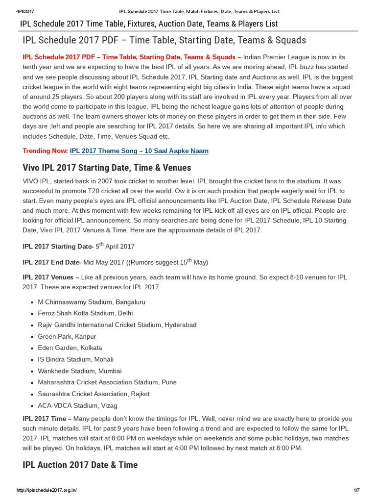 ipl teams players list 2016 pdf