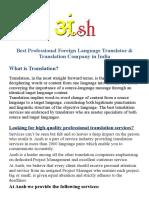Best Professional Foreign Language Translator & Translation Company, India