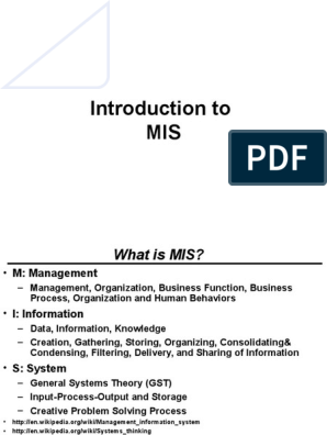 Introduction of MIS   Management Information System