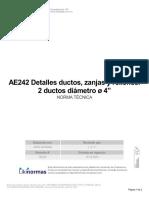"""AE242 Detalles Ductos, Zanjas y Rellenos 2 Ductos Diámetro ø 4"""""""