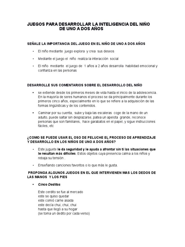 Senale La Importancia Del Juego En El Nino De Uno A Dos Anos