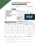 Teaching Staff Application Form