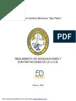 Reglamento de Adquisiciones y Contrataciones Ucb Aprobado Desde 14-3-2016