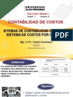 Semana 3 Sistemas de Costos 1.- Sistema de Costos x Ordenes