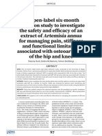 An Open-label Six-month Extension Study to Investigate the Safety and Ef Cacy of an Extract of Artemisia Annua for Managing Pain, Stiffness and Functional Limitation Associated With Osteoarthritis of the Hip and Knee
