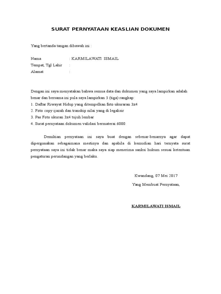 Contoh Surat Pernyataan Keaslian Dokumen - Dokumen Pilihan