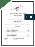 (FINAL) Assignment 2 (Literature Review) - Financial Distress Among UNIMAS Students