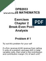 Business Mathematics  Exercises Break even Analysis