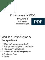 Entrepreneurial EE-3 - Module 1