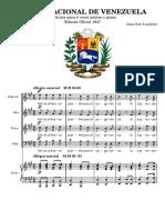 HIMNO NACIONAL de VENEZUELA. National Anthem of Venezuela. Piano and Mixed Chorus