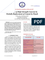 Mix Design of High Strength Concrete by Partially Replacement of Cement by Flyash
