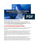 Economics Online Classes - Law of Diminishing Marginal Utility