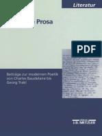 Cornelia Ortlieb (Auth.)-Poetische Prosa_ Beiträge Zur Modernen Poetik Von Charles Baudelaire Bis Georg Trakl-J.B. Metzler (2001)