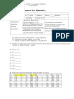 Evaluación 2 de Matemática