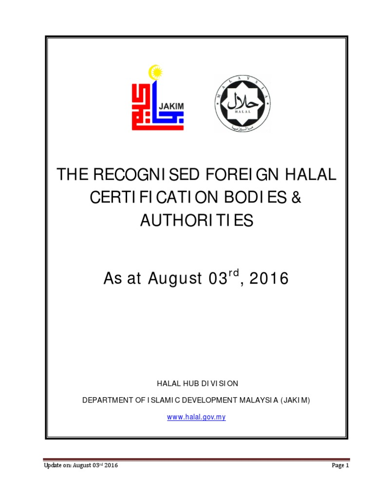 The Recognised Foreign Halal Certification Bodies Authorities