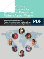 WHO VAW Violence Against Women Research Ethics Safety