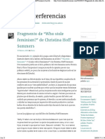 "Fragmento de ""Who Stole Feminism"" de Christina Hoff Sommers Las Interferencias"