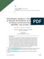metodologías analiticas y heuristicas para la solución del problema de progrmación de tareas con recursos restringidos.pdf