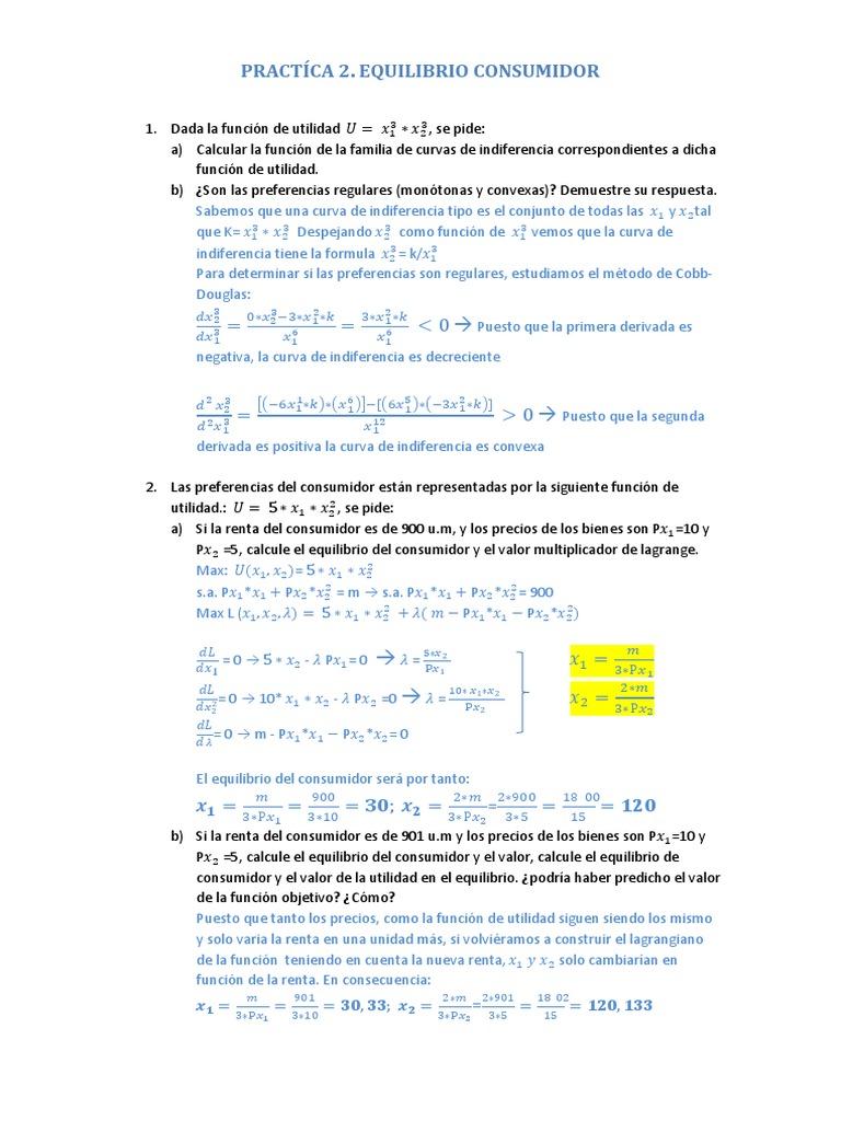 Microeconomía Intermedia; Práctica 2. | Microeconomía